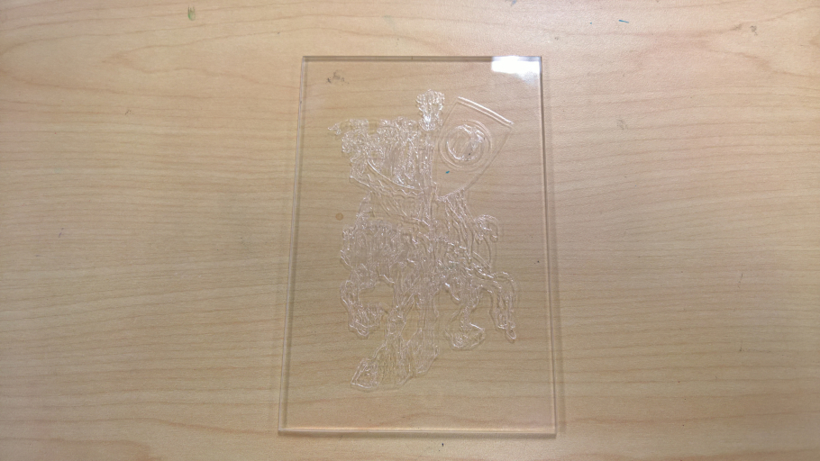 Example of a glass plate engraved with a knight on a horse