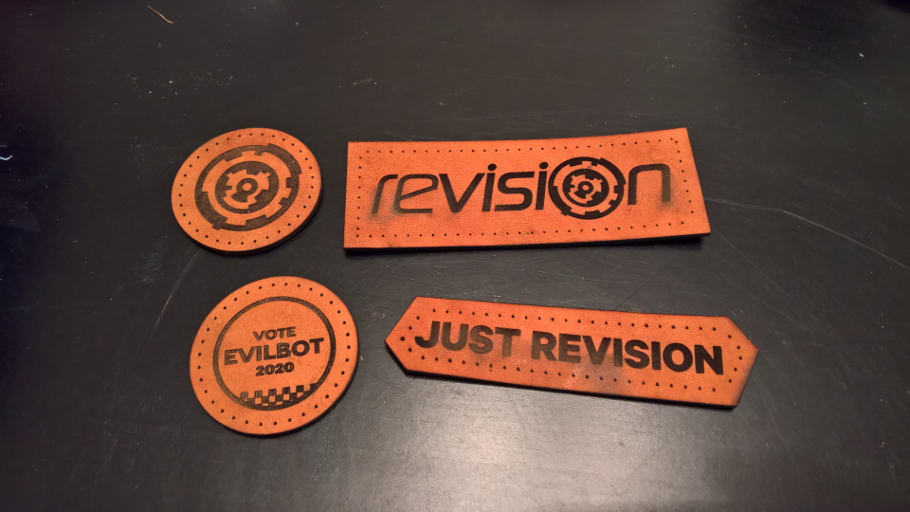 Example of a set of leather patches for an event
